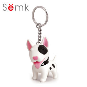 Semk Dog Action Figure PVC Vinyl Doll Anime Figure Toys Cute Dog Keychain For Car Key Holder Terri Bull Terrier Excellent Gift
