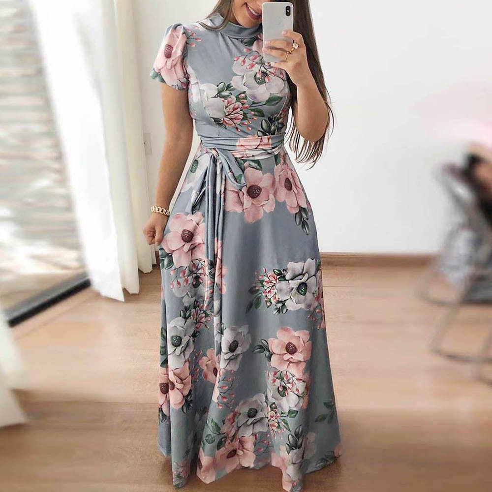 8e1b1ef1fa8 Feitong 2018 новое поступление с длинным рукавом летнее платье принтом  модные женские туфли Элегантный Сладкий святить