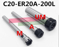 1PCS C20 ER20A 200L/C20 ER20M 200L Collet Chuck Holder 200MM Extension Straight Shank for ER Collet with ER20A/ER20M Nut