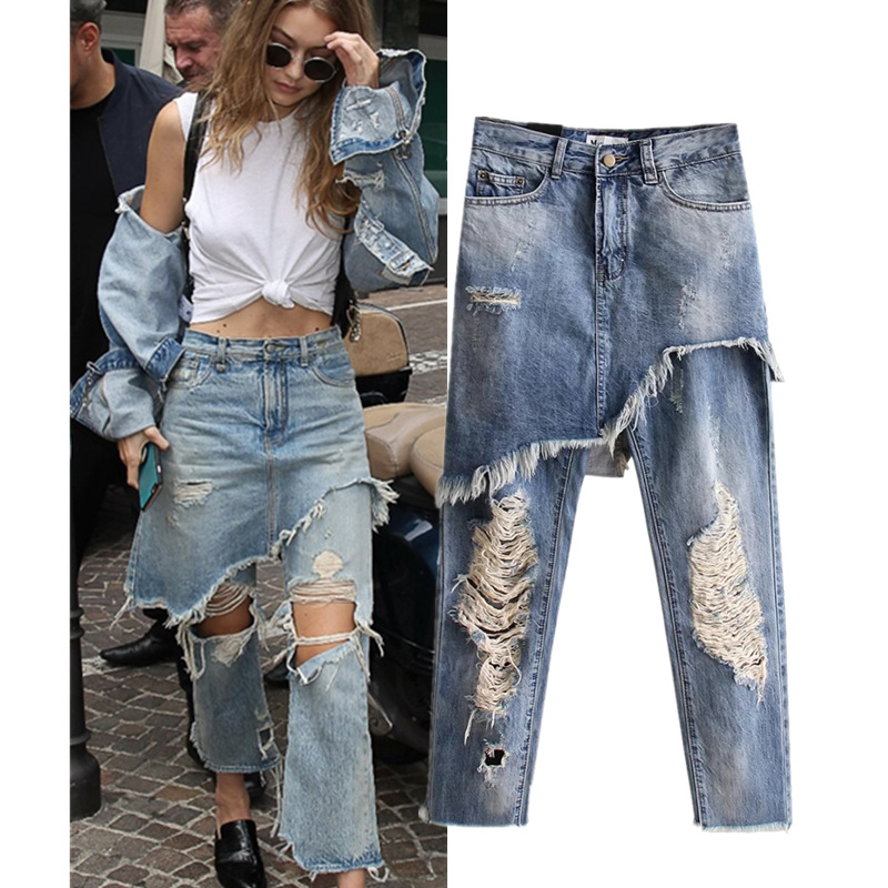Europe and the United States women washed do old hole cowboy false two separate  fashion irregular nine points of jeans ajit kumar paswan and rakesh kumar efficacy of separate and premix formulation of herbicides on weeds