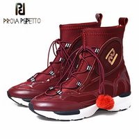 Prova Perfetto Fashion Women Casual Shoes Lycral Mix Cow Leather Pompon Lace Up Breathable Comfortable Sneaker Shoes