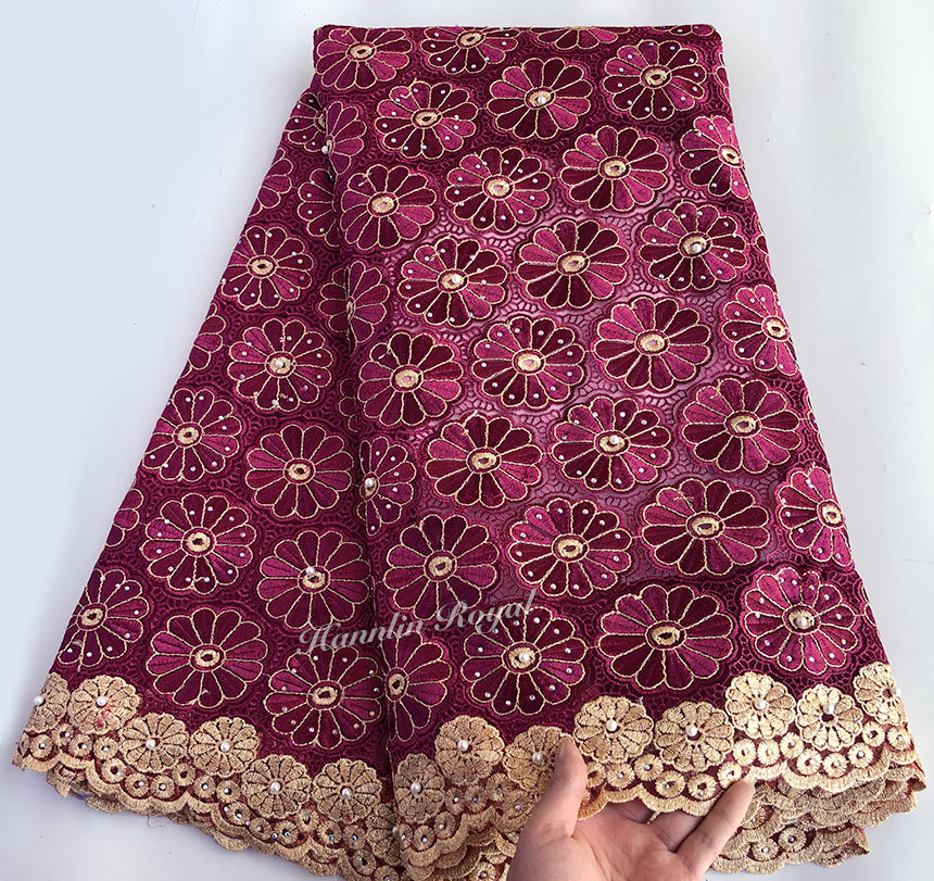 Wine Gold veritable french lace African Swiss tulle lace fabric floral embroidery Nigerian sewing cloth high