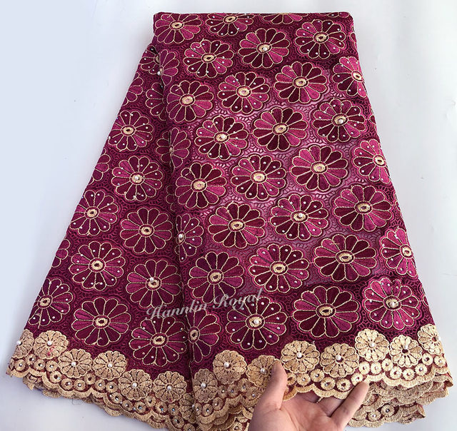 Wine Gold veritable french lace African Swiss tulle lace fabric floral embroidery Nigerian sewing cloth high quality 5 yards Hot