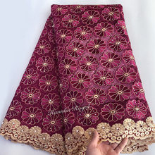 French Lace Floral-Embroidery Tulle African Nigerian-Sewing-Cloth Wine Swiss High-Quality