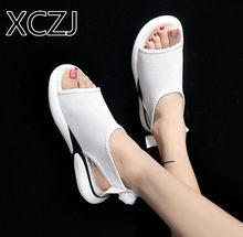 e99f8e5c6 XCZJ verão mulheres sandálias flat casuais Do Vintage Arco sapatos  plataforma sandálias sapatos Roma boca de