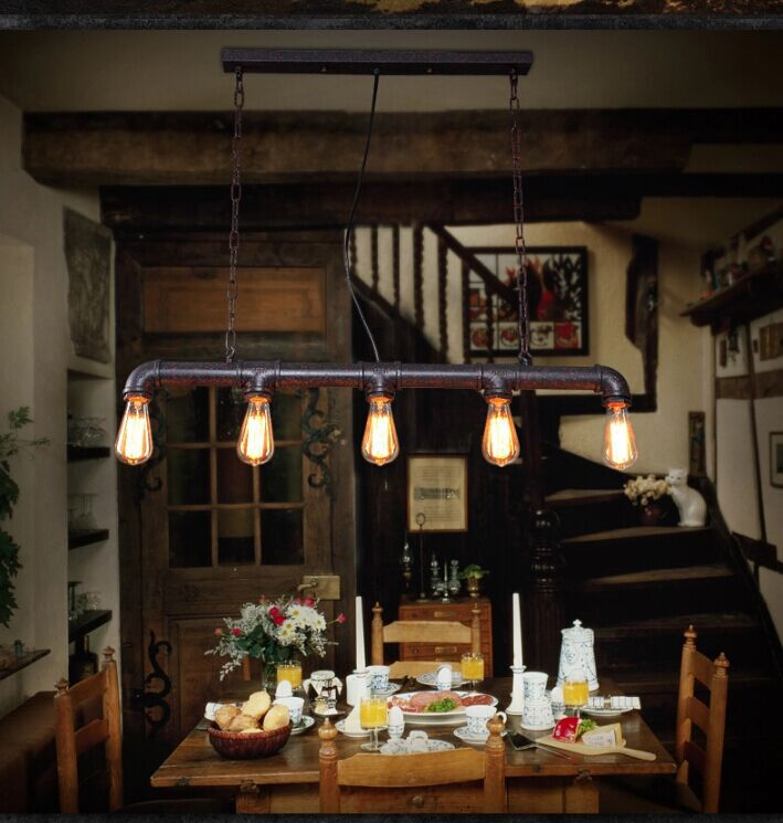 Aliexpress Buy Vintage Edison Pendant Light Retro Water Pipe Lamp Bulbs For Warehouse Dining Room KTV Bar E27 Holder DHL Fedex From