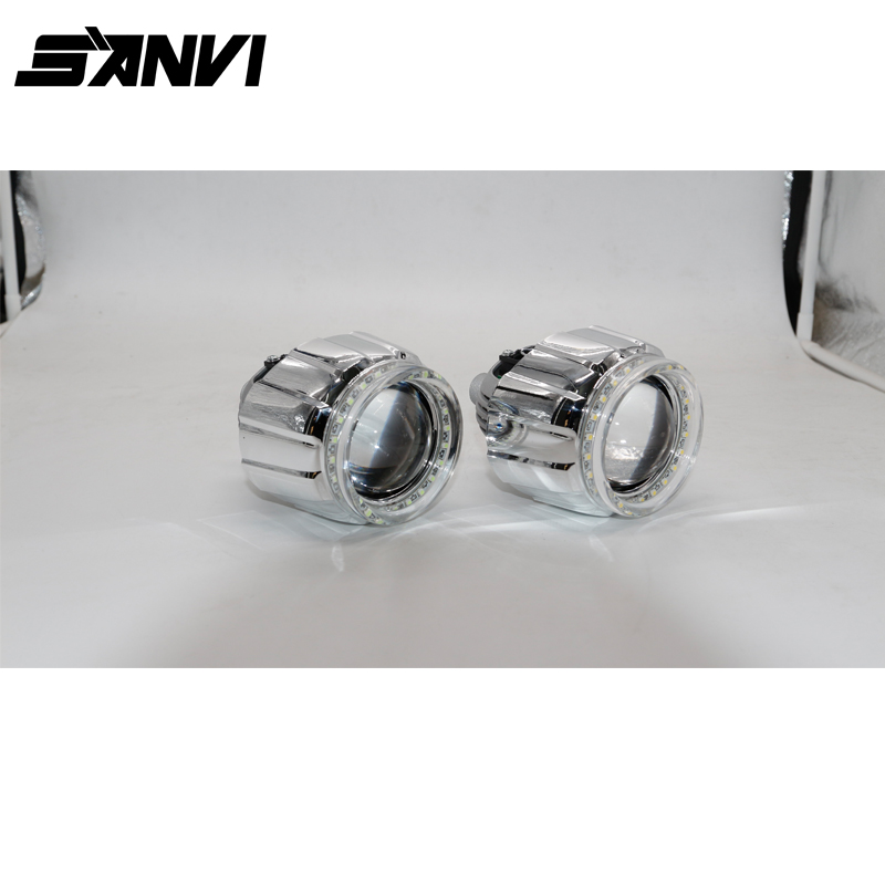 Popular High Quality SANVI Bi-LED Lens Headlight with Shrouds and High Bright Angel Eye 35W 40W 6000K Car LED Headlight Autopart high quality new car led headlight with ballast mask angel eye 35w 6000k car led projector lens headlight