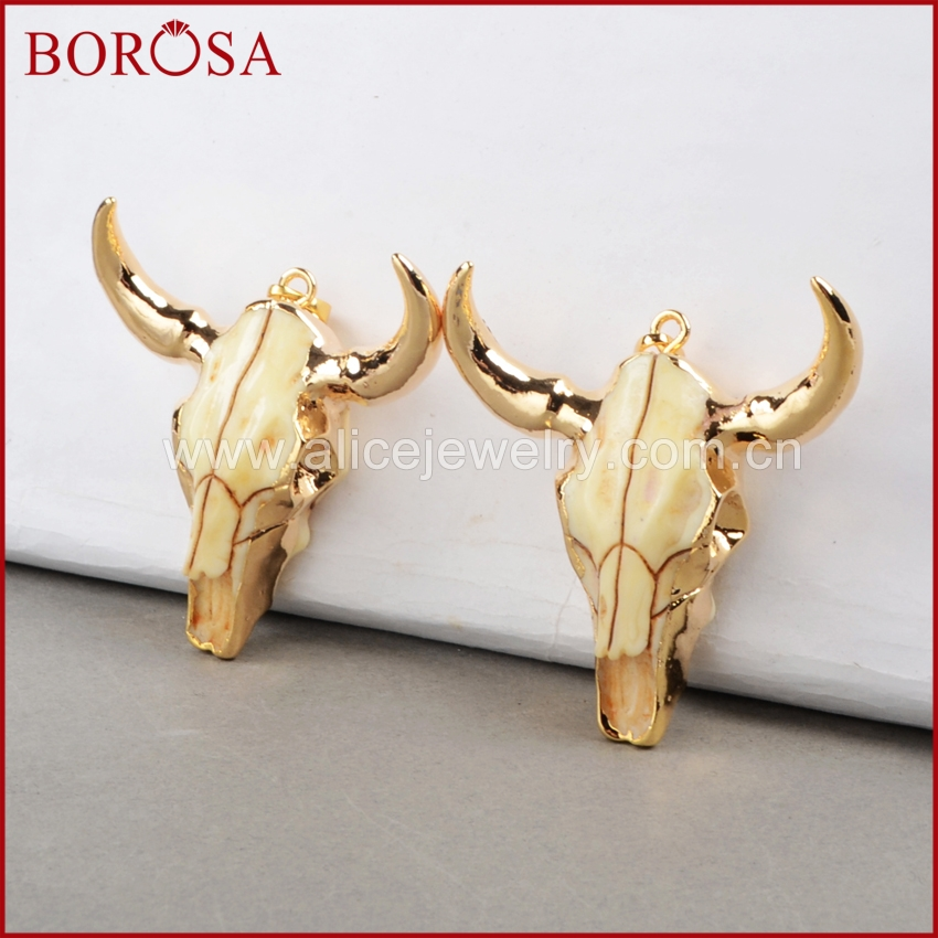 BOROSA buffalo Head bead ,Gold Color Bull Cattle Charm Bead Longhorn Resin Horn Cattle Pendant for Jewelry Accessories G0842-in Pendants from Jewelry & Accessories