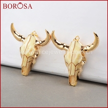 BOROSA buffalo Head bead ,Gold Color Bull Cattle Charm Bead Longhorn Resin Horn Cattle Pendant for Jewelry Accessories G0842