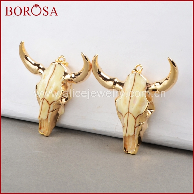 BOROSA buffalo Kopf perle, Gold Farbe Bull Charm Bead Longhorn Harz Horn Vieh Anhänger für Schmuck Zubehör G0842