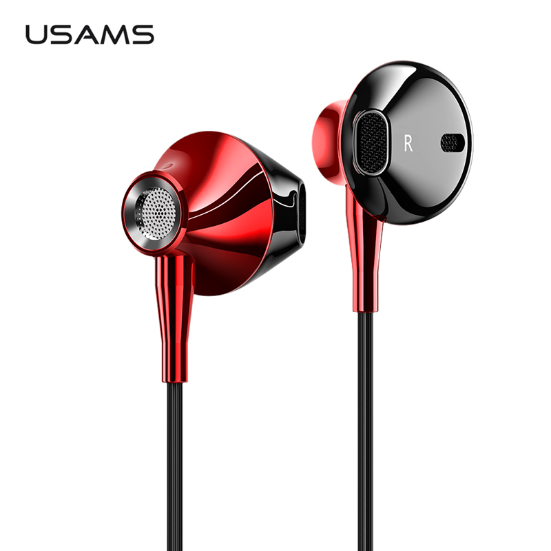 USAMS 3.5mm in-ear Earphones Hifi Wired headset with Microphone 4D Stereo Metal