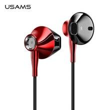 Usams 3.5mm 이어폰 이어폰 hifi 유선 헤드셋 (마이크 포함) 4d 스테레오 메탈 이어폰 (iphone 용) samsung xiaomi