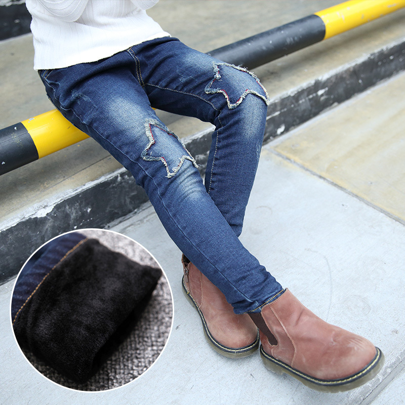 Autumn and Winter Girls Pants Thick Cashmere Jeans Girls Fashion Denim Trouses new fashion style hot sale autumn winter thick male jeans straight slim looking men full length pants heavyweight solid cozy