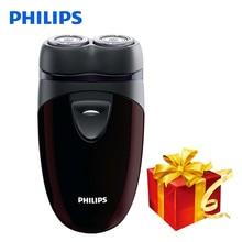 100% натуральная Philips электробритва PQ206 с двумя плавающие головки AA Батарея контур лица отслеживания для Для мужчин электрические бритвы