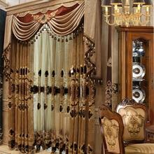 Υψηλή πολυτελή ατμόσφαιρα Βίλλα Ευρώπη Κουρτίνα κουρτινών για το δωμάτιο καθιστικού Παράθυρο Διαλυτό στο νερό Κεντημένο Tulle Αρχική Διακόσμηση