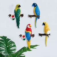Solid Parrot Birds Statue Animal Art Sculpture Resin Craftwork Hang Decorations Home Wall Decor L2995