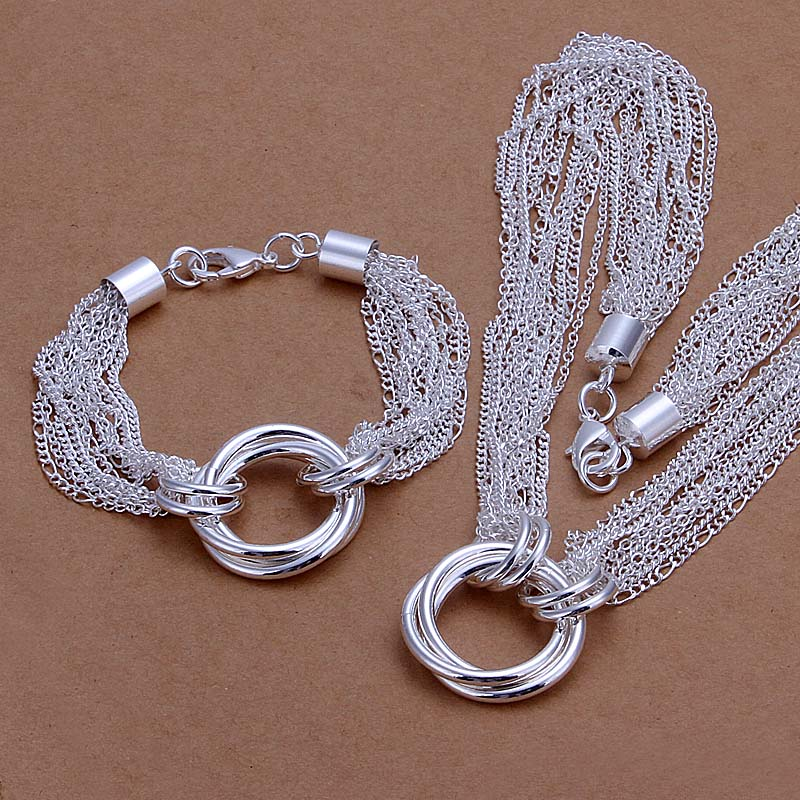 Wholesale silver plated Jewelry Sets,Fashion Jewelry Circle Necklace&Bracelet SMTS338