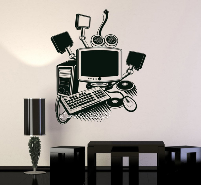 Computer Art Gamer Vinyl Wall Stickers Play Room PC Kids