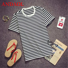 ANDAOL Mens Casual T-Shirts Top Quality Striped O-Neck Polyester Slim T Shirt Fashion Personality Short Sportswear Tee shirt