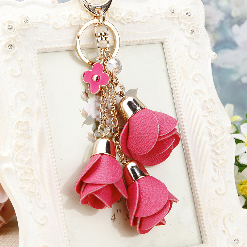 2017 new charm fashion leather rose flower key chain cute