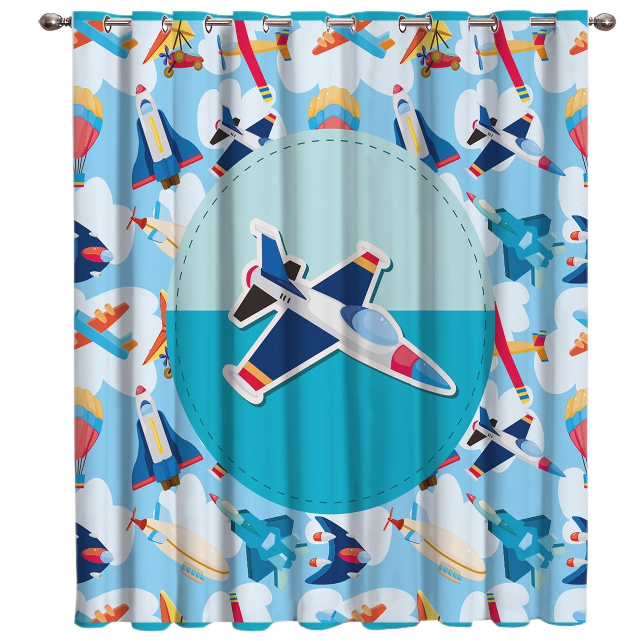 Cartoon Airplane Pattern Window Treatments Curtains Valance Bathroom Kitchen Fabric Indoor Decor Window Treatment Sets Curtains