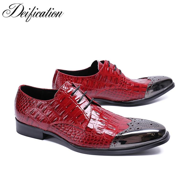 Red Square Toe Men Dress Shoes Genuine Leather Crocodile Print Lace Up Men Wedding Shoes Brogue Party Shoes Zapatos De Hombre