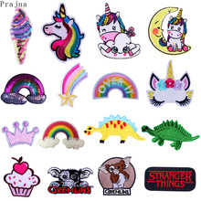 Prajna Cute DIY Unicorn Patch Iron On Patches Cartoon Embroidered For Clothes Stripes Anime GIZMO Gremlins Sticker