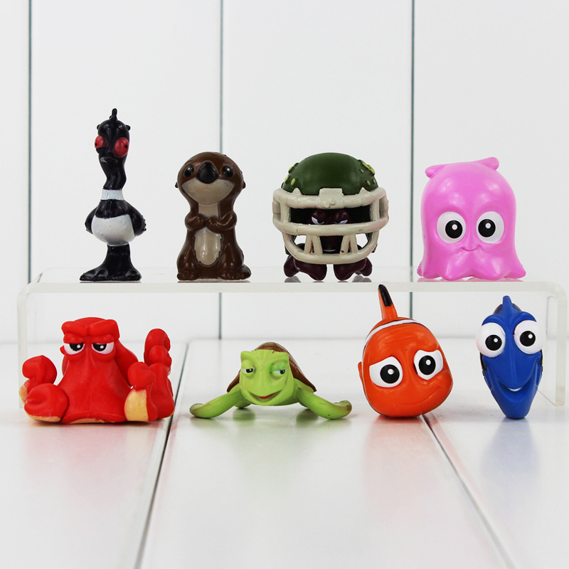 8pcs/<font><b>set</b></font> 2-5cm <font><b>Finding</b></font> <font><b>Nemo</b></font> <font><b>Clownfish</b></font> <font><b>Dory</b></font> Action Figure Toys Collectible Models Mini Dolls Brithday Gifts For Kids