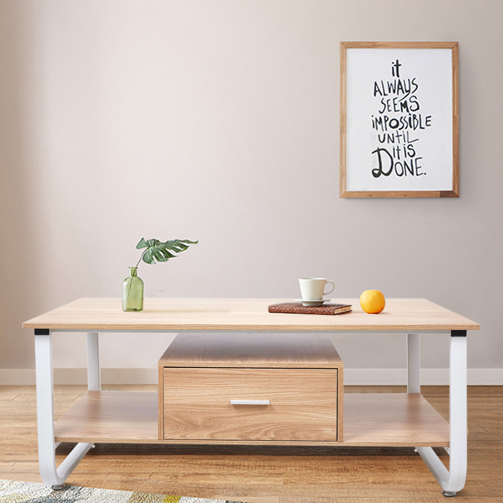 47 Long Coffee Table With Storage Drawer 2 Tier Modern Coffee Desk For Living Room Oak Coffee Tables Aliexpress