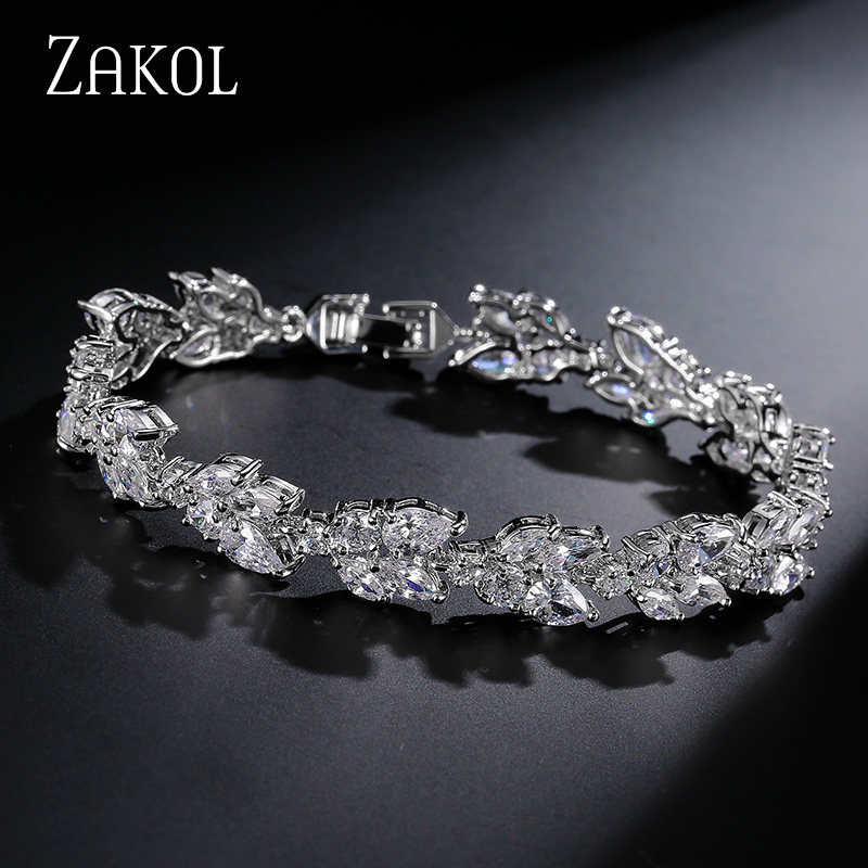 ZAKOL High Quality Clear White Cubic Zirconia Leaf Pattern Bracelets Bangles For Women Girl Gift Fashion Wedding Jewelry FSBP001 drop shipping high quality natural green dongling jades bangles bracelets round bangles gift for fashion elegant women jewelry