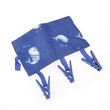 1pc Portable Folding Cloth Hanger Clips Traveling Clothespin Durable Socks Drying Racks Travel Bathroom Rack Blue