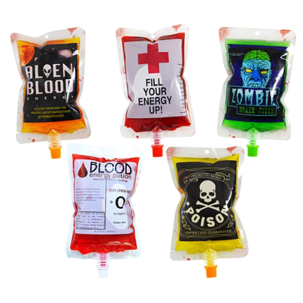 5pcs/set 250ml Transparent Clear Medical PVC Material Reusable Blood Energy Drink Bag Halloween Vampire Pouch Props