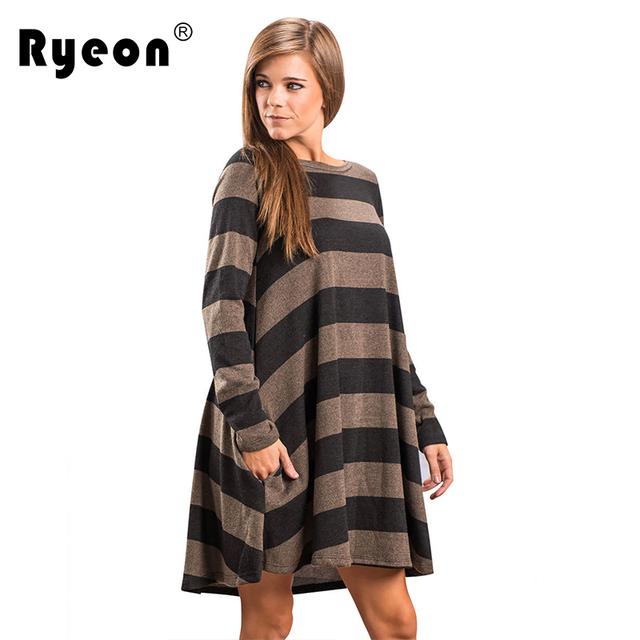 Ryeon Plus Size Casual Autumn Winter Spring Striped Knitted Dress ...