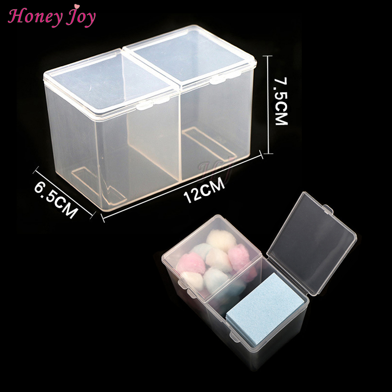 1pc Storage Box Case Container 2Room for Nail Art Polish Remover Cotton Pad Paper Wipe Personal Manicure Treatment Salon Accesso  nail art box 3 layer multi utility storage case professional manicure kit nail tool makeup box large size