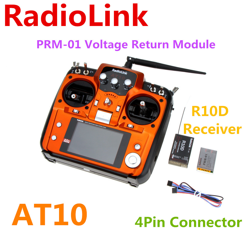 RadioLink AT10 AT-10 2.4G 10CH radio System Transmitter R10D Receiver PRM-01 Voltage Return Module for RC Airplane Helicopter image