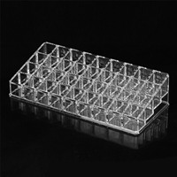 Clear Acrylic Makeup Organizer Cosmetic Storage Box For Lip Gloss Lipstick Nail Polish Holder With 36