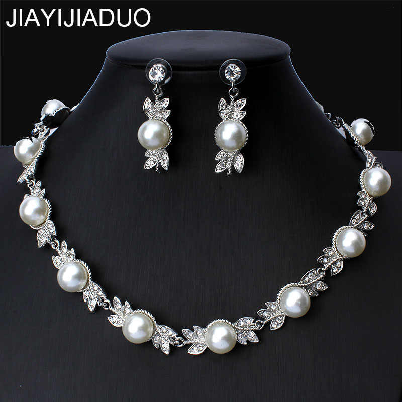 jiayijiaduo Simulated Pearl Bridal Jewelry Sets Silver Color Wedding Necklace Earrings Bracelets Sets Party Jewelry  new