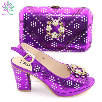 Italian nice purple Matching Shoe and Bag Set African Shoes and Matching Bags Italian top selling Nigerian Paty