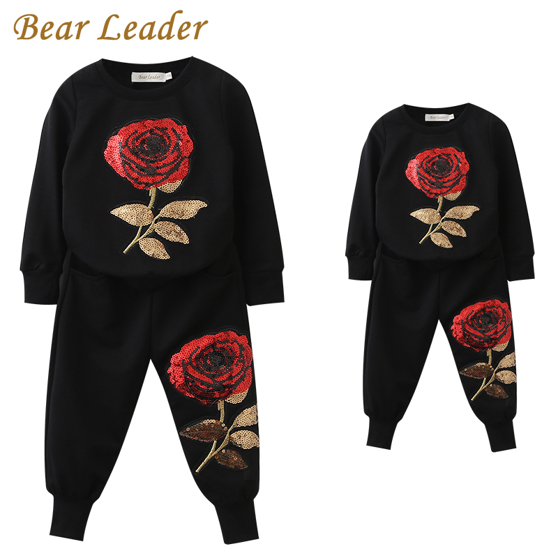 Bear Leader 2018 New Spring Style Family Matching Outfits Mother And Daughter Long Sleeve Rose Floral Sweatshirt+Pants 2Pcs Suit