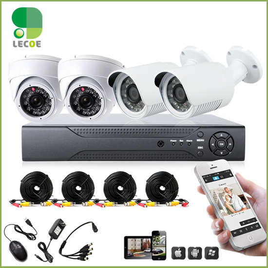 Home Surveillance Security Camera System CCTV Kit with DVR 4CH full D1 4 channel and 4pcs1200TVL IR cut Weatherproof Cameras
