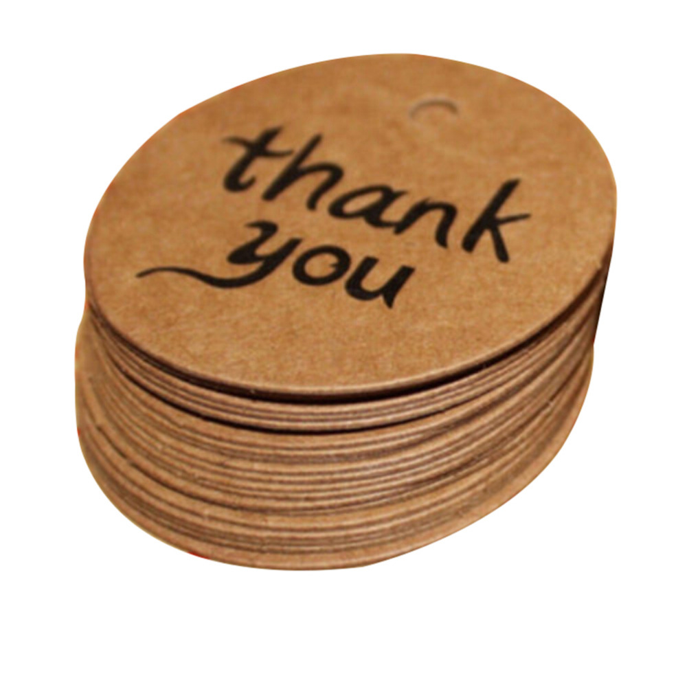 100pcslot Candy Gift Box Thank You Tags Decoracion Kraft Paper