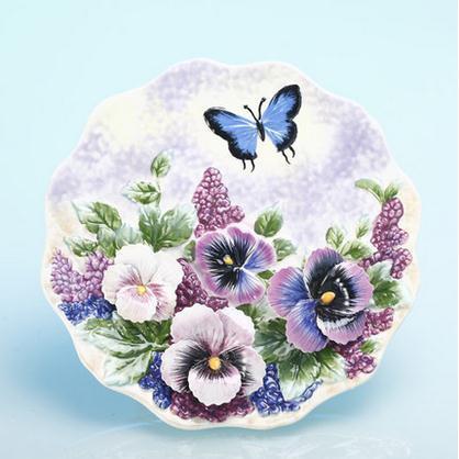 Assiettes décoratives série fleurs | Vaisselle murale décorative en porcelaine, décor de maison vintage artisanat décoration de salle, figurine de décoration - 4
