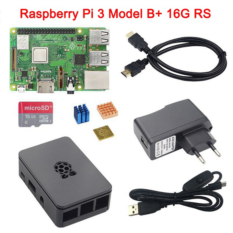In Stock RS Raspberry Pi 3 Model B+ Starter kit RPI 3B+ Plus Board+ABS Case+Power Adapter+Heat Sink+16G 32G SD Card+HDMI Cable