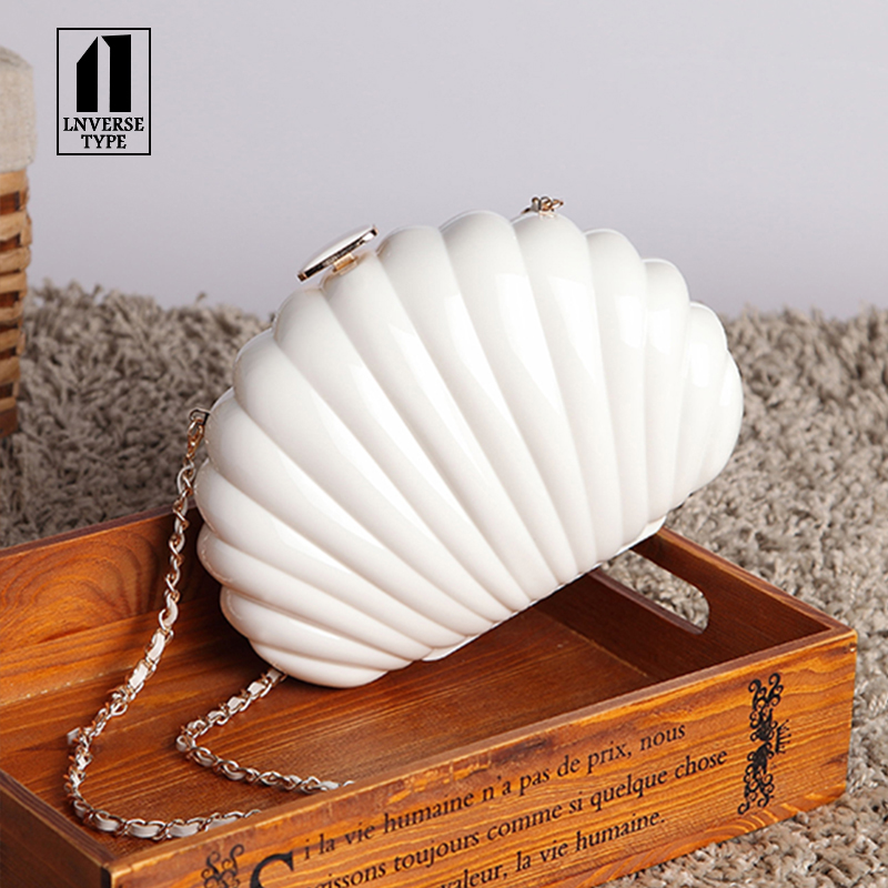 Acrylic shell women handbags Female 2018 Summer Pearl Chain Shell Bag Pleated Simple Waterproof Shoulder Diagonal Multifunction