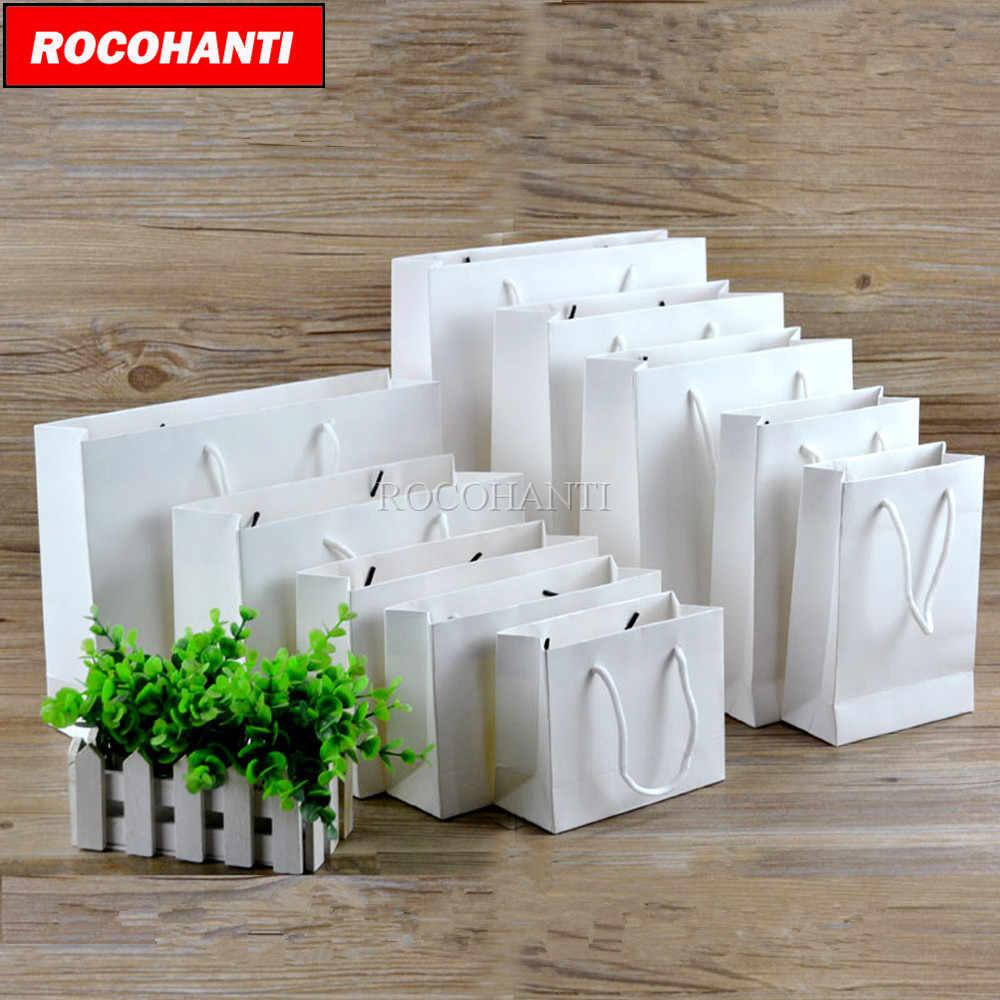 50X Пользовательский логотип напечатанный толстый Гросси белый бумажный пакет 250 грамм картонные бумажные сумочки для шоппинга со шнурком