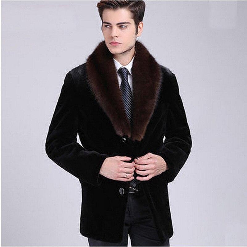 Haute Hommes D'affaires coat 6xl Mode Fourrure Homme Trench Manteau Nouvelle Vêtements S De Vison D'hiver Imitation l13uTJcKF