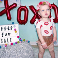Ins * mais novo 2016 algodão bebê menina beijo padrão camisetas kids summer floral boarder topo de pano 1-4Y bonito sexy alta qualidade
