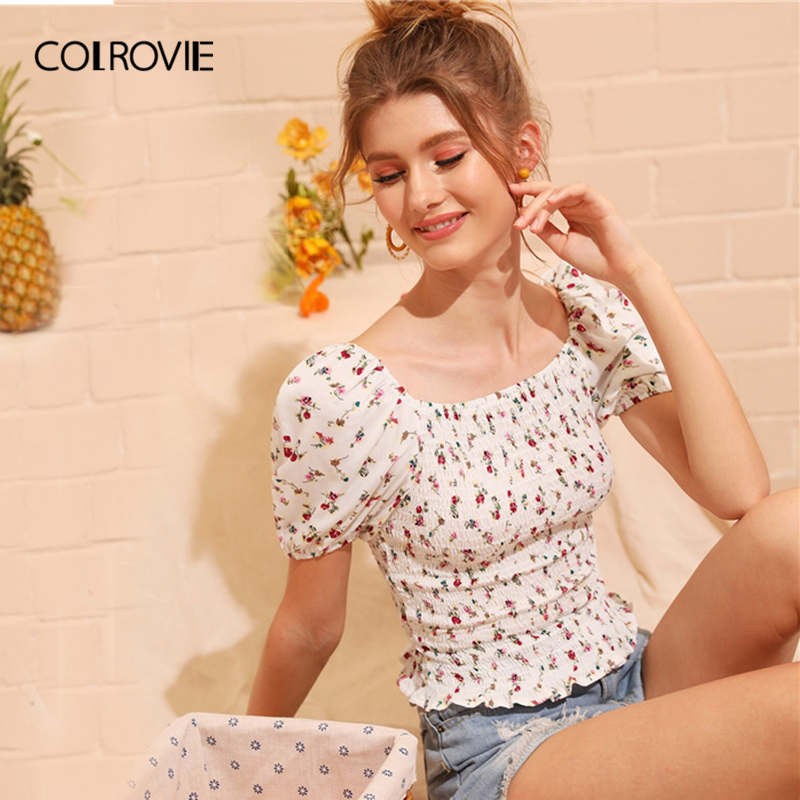 COLROVIE White Square Neck Ditsy Floral Print Shirred Frill Boho Top Women   Blouse     Shirt   2019 Summer Korean Fashion Girly   Blouses