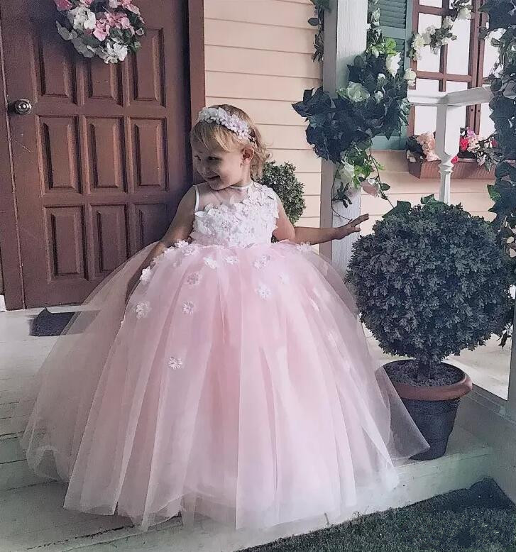 Cute Pink 3D Floral Applique Beads Flower Girls Dresses For Weddings Baby Girl Birthday Pageant Christmas Communion Dress