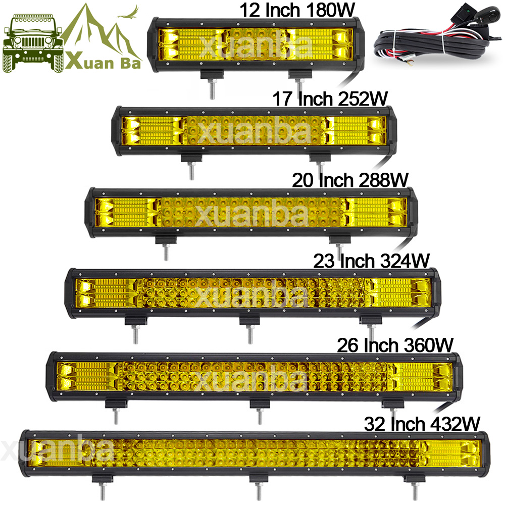 Triple Row Led Light Bar 12 20 23 288W Work Lights 12V 24V Pickup Wagon Boat